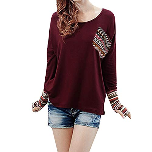 Tsmile Autumn Winter Women's Blouse Patchwork Casual Loose T-Shirts Thumb Holes Tops (S, Wine Red)