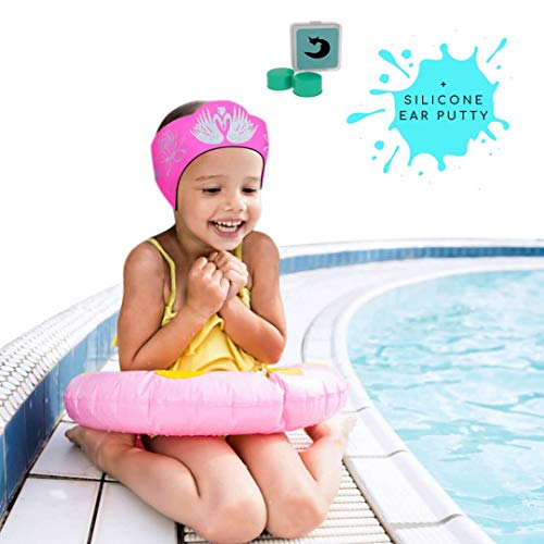 Will & Fox Swimming Ear Band for Kids Toddlers & Babies with Ear Tubes ~Free Putty Earplugs ~The #1 Headband ENT Physicians Recommend~ Holding Plugs in Place and Ears Dry (Medium 18 months - 10 Years)