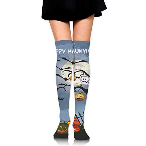 (Over Knee High Tube Stockings Spooky Halloween Haunted Graveyard Long Tube Socks Compresson Socks for Women and)