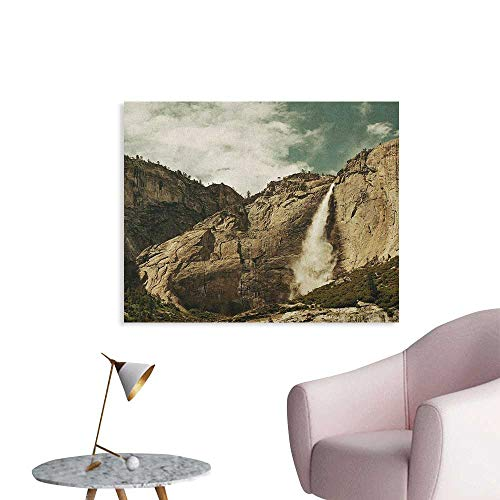 Anzhutwelve Yosemite Wall Paper Waterfalls in Yosemite National Park California Famous Travel Destination Space Poster Brown Reseda Green W32 xL24]()
