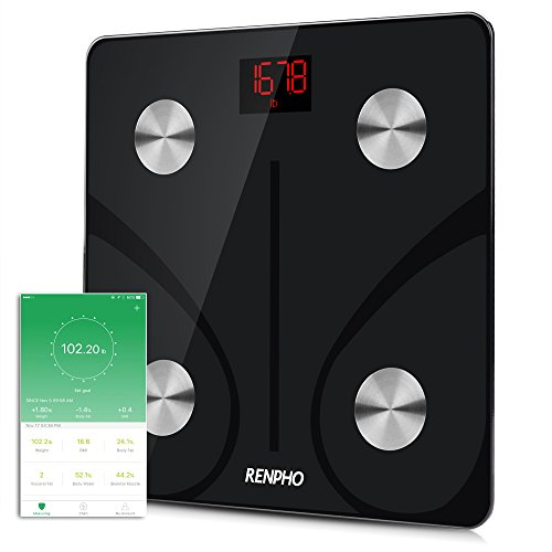 RENPHO Bluetooth Body Fat Scale - FDA Approved - Smart Body Composition Analyzer with Smartphone App, 400 lbs (Black) … (Smart Phone Weight Scale)
