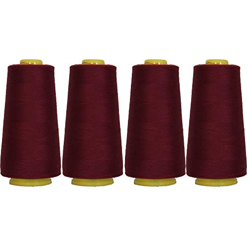 Threadart Polyester Serger Thread - 2750 yds 40/2 - Dark Maroon - 56 Colors Available - 4 Cone Bundle Pack (Maroon Thread)
