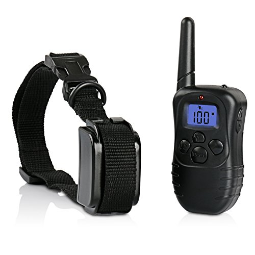 Training Collar, Mospro Waterproof Rechargeable LCD Pet Dog Remote Trainer With 300 Yards Range 100 Level Of Safe Static Shock and Vibration, Beep, LED Light
