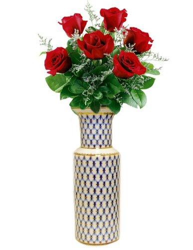 Amazon Cobalt Net Flower Vase 10 12x4 14 Home Kitchen