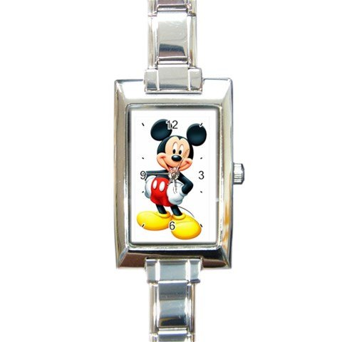 Mickey Mouse Rectangular Italian Charm Watch with Stainless Steel 16 Link Wrist Strap