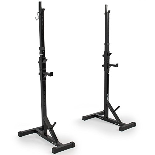 Akonza-Pair-of-Adjustable-Standard-Solid-Steel-Power-Squat-Stands-Barbell-Free-Press-Bench-Black