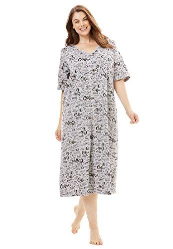 Dreams & Co. Women's Plus Size Long Print Sleepshirt Heather Grey Coffee,1X/2X (Print Nightgown)