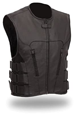 The Nekid Cow Men's Updated SWAT Team Leather Motorcycle Vest Soft Buffalo Leather(Black, Medium) -GUARANTEED - Tactical Outlaw Black Biker Vests for Men - Law Enforcement Style Protective Side Adjustment Soft Leather Bonus 151 page Motorcycle & Restorati