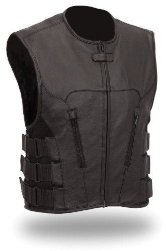 The Nekid Cow Men's Updated SWAT Team Leather Motorcycle Vest Soft Buffalo Leather(Black, Large) -GUARANTEED - Tactical Outlaw Black Biker Vests for Men - Law Enforcement Style Protective Side Adjustment Soft Leather Bonus 151 page Motorcycle & Restoratio