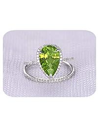 RUDRAFASHION 6X9MM Pear Cut Created Gemstone .925 Sterling Silver Engagement Halo Bridal Ring Set for Women's