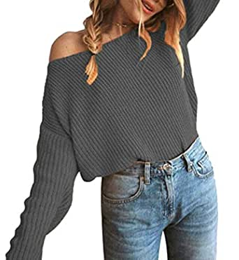 Women's One Shoulder Loose Pullover Sweater Batwing Sleeve Knit Jumper Top 1 L