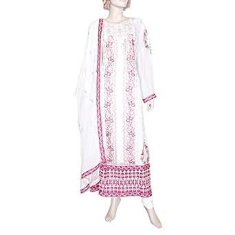 Shabnam White Casual Kameez & Salwar Set For Women
