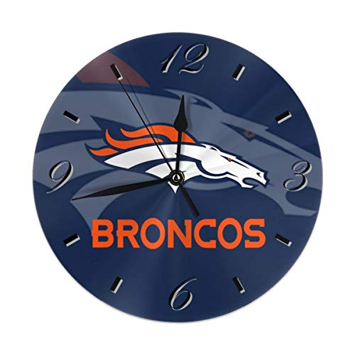 Aoskin Denver Broncos Silent Non Ticking 9.8 in Quality Quartz Battery Operated Round Easy to Read Home/Office/School Clock