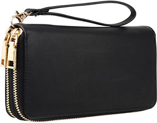 B BRENTANO Vegan Double-Zipper Wallet Clutch with Removable Wrist Strap (Logo - Black)