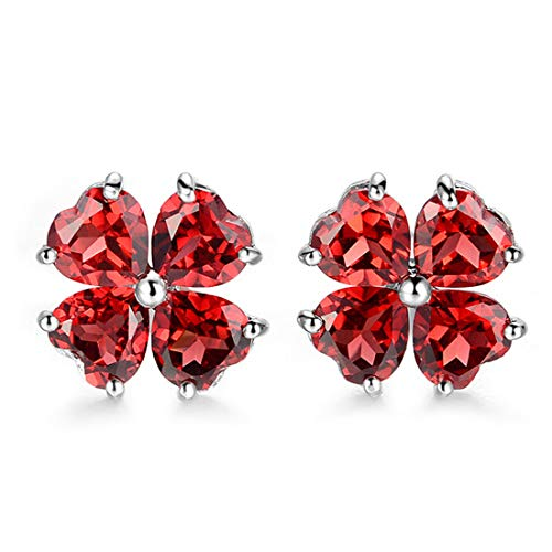 (JiangXin Natural Garnet 925 Sterling Silver Stud Earrings for Women Birthstone White Gold Plated Jewellery)