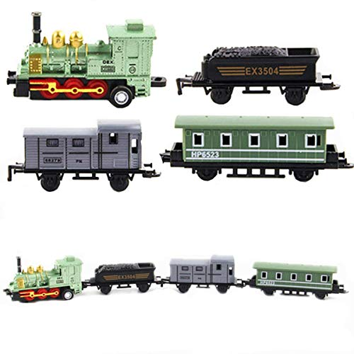 (HLang Classic Locomotive Model Train, Pull Back Vehicle Toy, Alloy Train Model Toy Classical Steam Joint Train Chain Baby Kids Toys (Green))