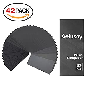 Sandpaper, Aeiusny 120 To 3000 Assorted Grit Sandpaper Assortment for Dry or Wet Sanding, Automotive Polishing, Woodwork Finishing, Fine Polishing and Drywall Sanding, 9x3.6 In, 42 Sheets