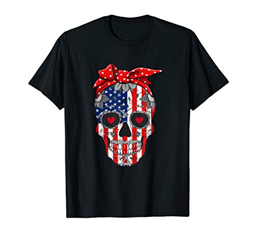 Sugar Skull American Flag Red Bow 4th Of July Independence T-Shirt