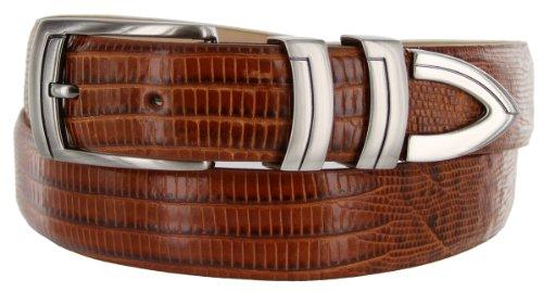 8191 Italian Calfskin Leather Designer Dress Belts (Lizard Tan, 36)