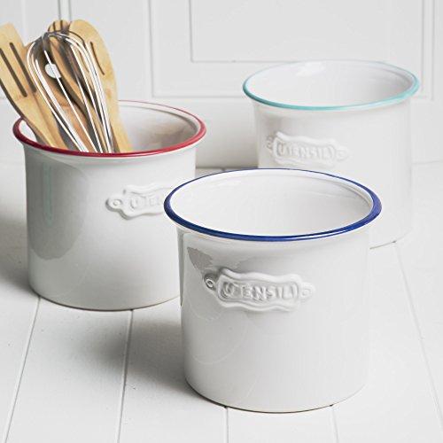 "Vintage Ceramic Utensil Container- Utensil Crock With Embossed ""Utensil"""