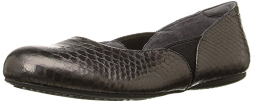 SoftWalk Women's Norwich Ballet Flat, Pewter Snake, 6.5 W US ()