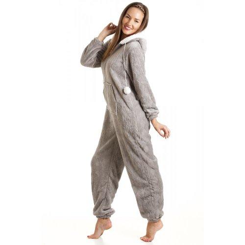 Camille Women's Womens Ladies Luxury Soft Fleece Hooded Gray All In One Onesie Pajamas 6-16 10/12 Gray