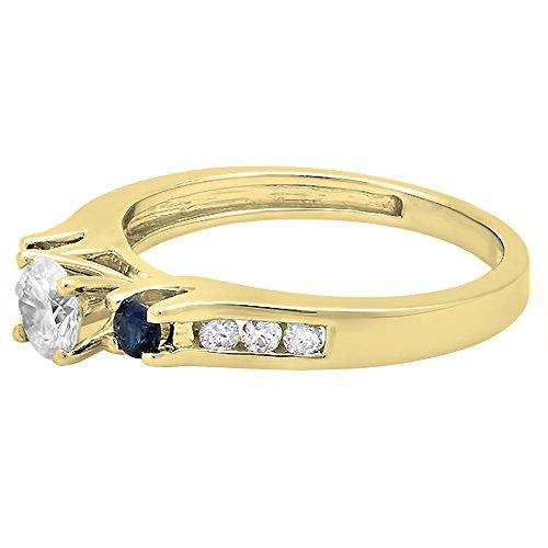 14K Gold Round White & Blue Sapphire & Diamond Bridal Engagement Ring