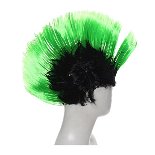 Pulison(TM) Hallowmas Masquerade Punk Mohawk Mohican hairstyle Cockscomb Hair Wig (Green)