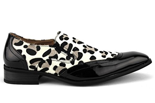 Mens 99.525 Exotiska Tryck Faux Pony Hår Leopard Zebra Patent Dagdrivare Skor Svart / Vit