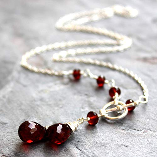 (Toggle Front Close Garnet Necklace Red Gemstone Sterling Silver Beaded Asymmetric 18 inch)
