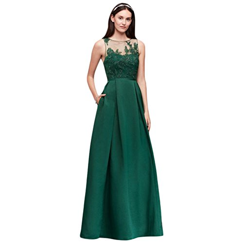 Faille OC290023 Dress Bridesmaid Appliqued Illusion Juniper Style 56qXX8pZ
