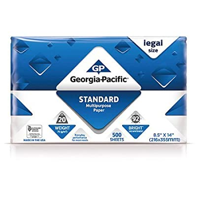 "Georgia-Pacific 500 Sheets, 8.5"" x 14"" Standard Multipurpose Legal Paper"