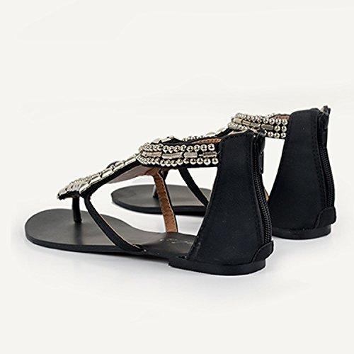 Perles Flip Sandales Sandales Noir Clip Eté Bohème Herringbone Plage Plag Toe Flops Femmes Frestepvie Sandales PtBaxUp