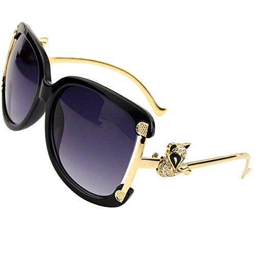 Sumery Gold Fox Alloy Frame Sunglasses Women Glasses UV400 (Black Frame,Grey - Shades Wiz Khalifa