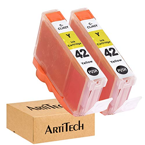ArtiTech CLI-42 Y Pixma Pro-100 Compatible Ink Cartridges Replacement for Canon CLI42 CLI-42 Yellow Ink Cartridge Work for Pixma Pro-100S Printers,2 Pack CLI-42 Y (Canon 42 Yellow Ink)