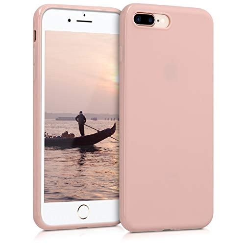 kwmobile TPU Silicone Case for Apple iPhone 7 Plus / 8 Plus - Soft Flexible Shock Absorbent Protective Phone Cover - Rose Gold Matte
