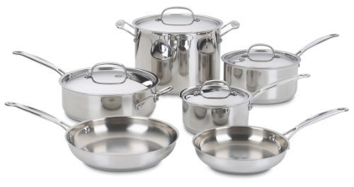 (Cuisinart 77-10 Chef's Classic Stainless 10-Piece Cookware Set )