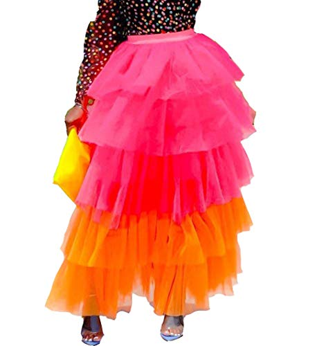 Aro Lora Women's Color Block Tiered Layered Sheer Mesh Party Tulle Tutu A-line Long Maxi Skirt X-Large Red
