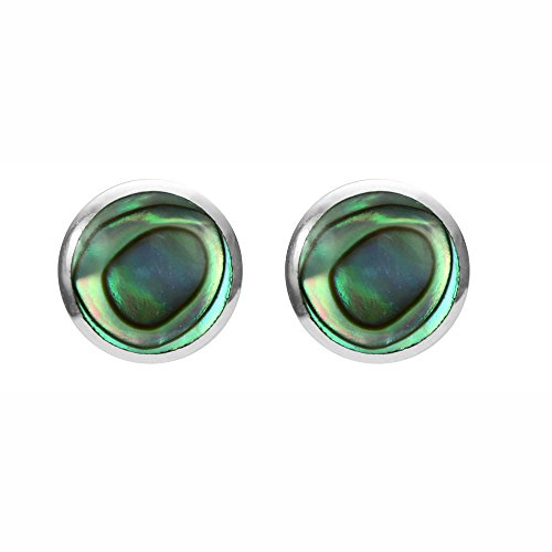 Boma Jewelry Sterling Silver Abalone Inlay Circle Stud Earrings