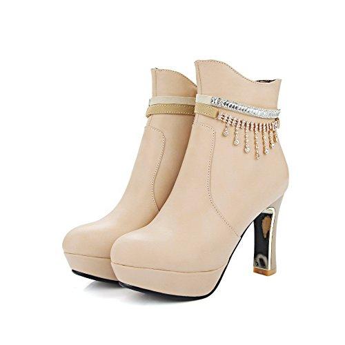 Zipper Beige Women's Heels Boots Closed Round Solid Low Toe AgooLar High top HIdqPRRwx