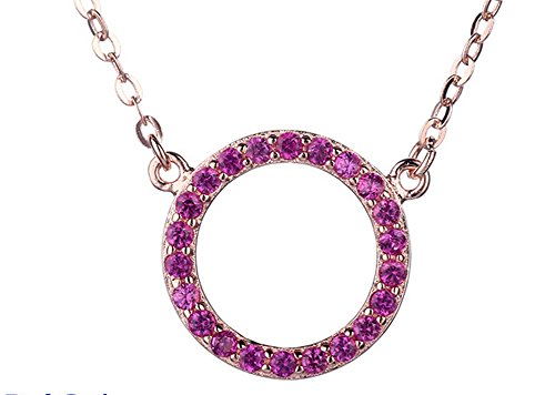 Fashion Women Forever Love Pendant Purple Crystal O Necklace with Gift Box (R02 Series)