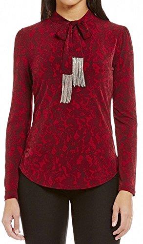 MICHAEL Michael Kors Chain Fringe Umbria Lace Print Matte Jersey Top (Cinnabar, (Print Matte Jersey Top)