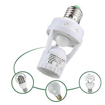 Portalámparas,niceEshop(TM) E27 PIR Sensor de Movimiento Cuerpo Humano de Inducción LED Infrarrojos Portalámparas,Blanco