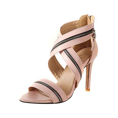Altos 2018 Más Las Verano Cremallera Moda Mujeres 32 Marca Tacones Tamaño Nueva Mujer Pink Hoesczs De Elegantes Sandalias Zapatos Diseño 46 BdS4aqSnx