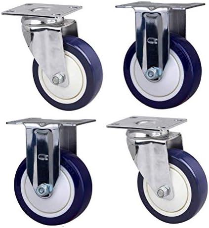 ポリウレタン家具キャスター(4個)回転キャスター、頑丈な輸送用キャスター、ブレーキ/ミュート付き、3/4/5/6インチ