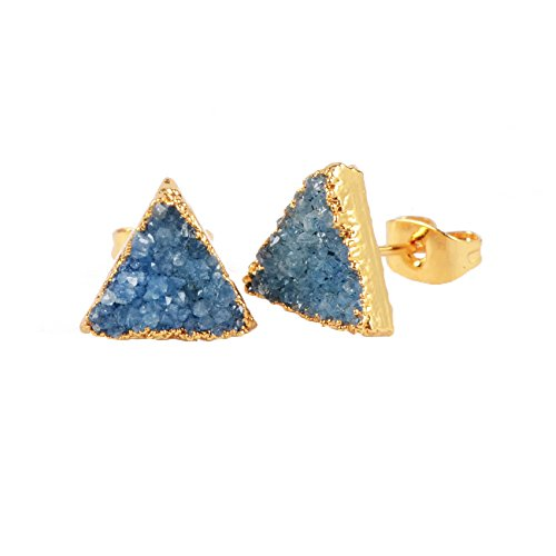 ZENGORI Gold Plated Triangle Agate Druzy Stud Earrings #G0432 (Blue)
