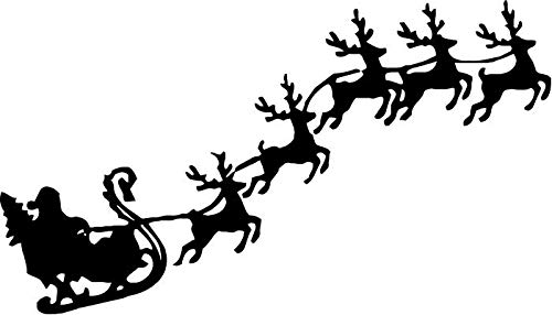 BEARGRAPHIX Santa Claus Reindeers Flying Decal Sticker Car Motorcycle Truck Bumper Window Laptop Wall Décor Size- 20 Inch Wide Gloss Black Color ()