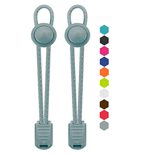 VESONNY Elastic No Tie Shoelaces - Reflective Shoe Laces with Lock for Kids and Adults, Stretch Sneaker Shoe Strings Quick Lacing System for Running, Hiking (Cool Gray)