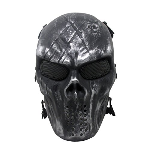 BeyongGear Airsoft Mask, Paintball Airsoft BB Tactical Cs War Game Outdoor Cosplay Halloween Mask Skull Skeleton Full Face Mask Anti Fog Eye Kids with Metal Mesh Eye Protection (BlackC)