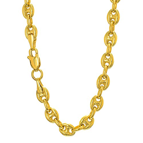Jewelstop 14k Yellow Gold 4.7 mm Puffed Mariner Anklet, Lobster Claw Clasp 10""